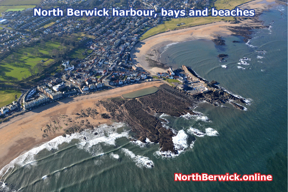 North Berwick harbour, bays and beaches from th air